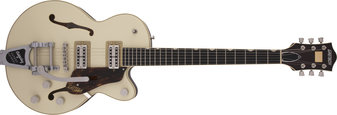G6659T Players Edition Broadkaster® Jr. Center Block Single-Cut with String-Thru Bigsby®, USA Full'Tron™ Pickups, Ebony Fingerboard, Two-Tone Lotus Ivory/Walnut Stain