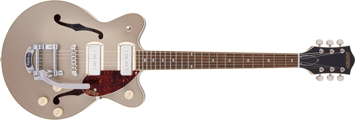 G2655T-P90 Streamliner™ Center Block Jr. Double-Cut P90 with Bigsby®, Laurel Fingerboard, Two-Tone Sahara Metallic and Vintage Mahogany Stain
