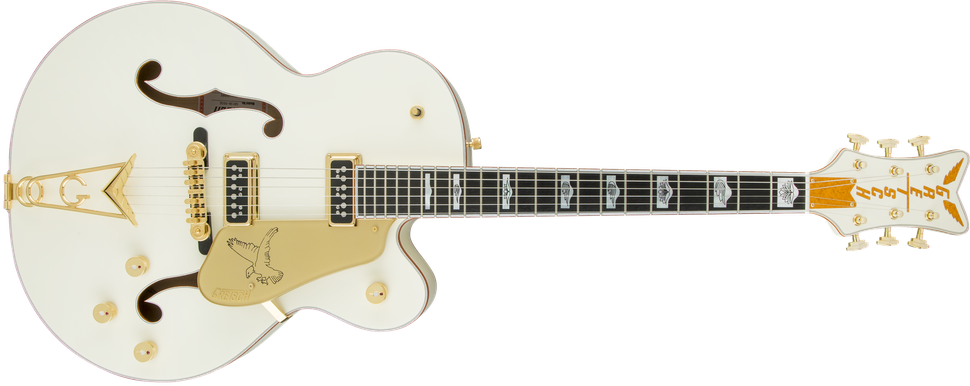 G6136-55 Vintage Select Edition '55 Falcon™ Hollow Body with Cadillac Tailpiece, TV Jones®, Solid Spruce Top, Vintage White, Lacquer