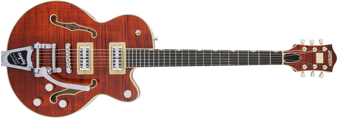 G6659TFM Players Edition Broadkaster® Jr. Center Block Single-Cut with String-Thru Bigsby® and Flame Maple, Ebony Fingerboard, Bourbon Stain