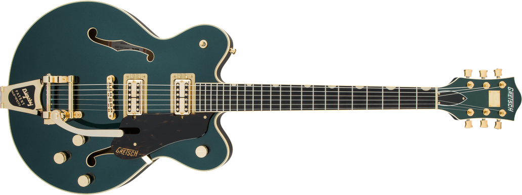 G6609TG Players Edition Broadkaster Center Block Double-Cut with String-Thru Bigsby and Gold Hardware, USA Full'Tron™ Pickups, Cadillac Green