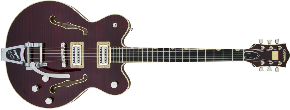 G6609TFM Players Edition Broadkaster® Center Block Double-Cut with String-Thru Bigsby®, USA Full'Tron™ Pickups, Tiger Flame Maple, Dark Cherry Stain