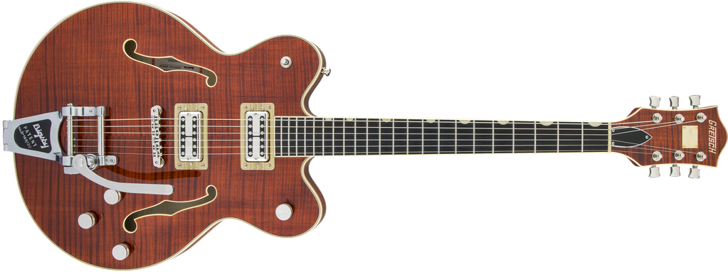 G6609TFM Players Edition Broadkaster® Center Block Double-Cut with String-Thru Bigsby®, USA Full'Tron™ Pickups, Tiger Flame Maple, Bourbon Stain