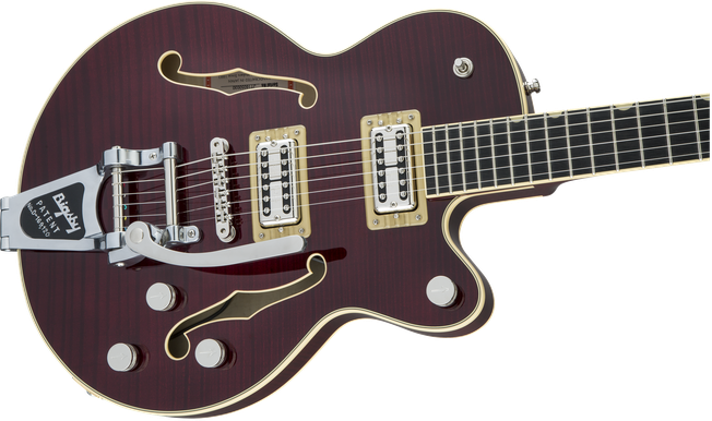 G6659TFM Players Edition Broadkaster® Jr. Center Block Single-Cut with String-Thru Bigsby® and Flame Maple, USA Full'Tron™ Pickups, Dark Cherry Stain