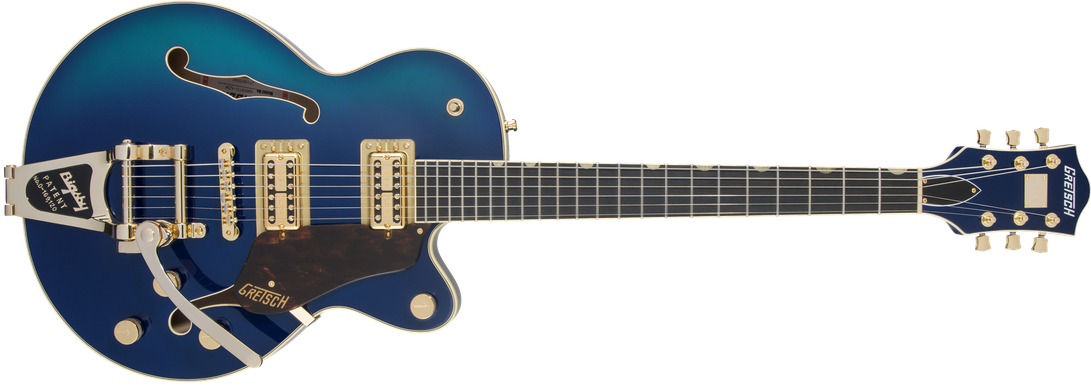 G6659TG Players Edition Broadkaster® Jr. Center Block Single-Cut with String-Thru Bigsby® and Gold Hardware, Ebony Fingerboard, Azure Metallic