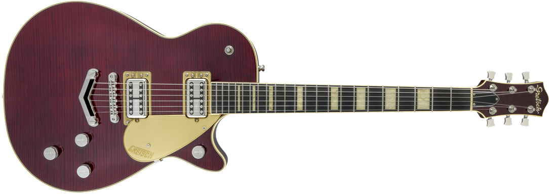 G6228FM Players Edition Jet™ BT with V-Stoptail and Flame Maple, Ebony Fingerboard, Dark Cherry Stain