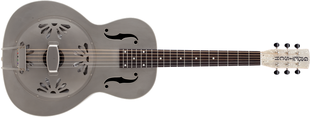 G9201 Honey Dipper™ Round-Neck, Brass Body Biscuit Cone Resonator Guitar, Shed Roof Finish