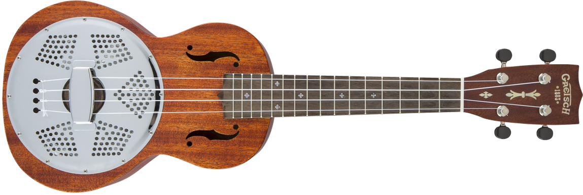 G9112 Resonator-Ukulele with Gig Bag, Ovangkol Fingerboard, Biscuit Cone, Honey Mahogany Stain