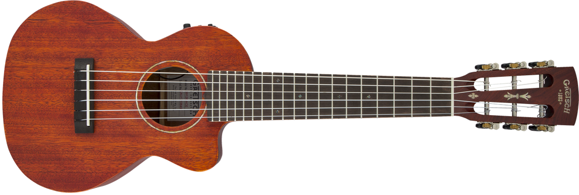 G9126 A.C.E. Guitar-Ukulele, Acoustic-Cutaway-Electric with Gig Bag, Ovangkol Fingerboard, Fishman® Kula Pickup, Honey Mahogany Stain